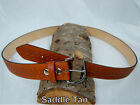 "Barsony Heavy Duty Saddle Tan Leather Basket Weave Belt 1.5"" Size 57-58"