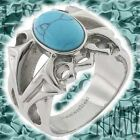 New 316 Steel Oval Cabochon Turquoise Gothic Men's Ring