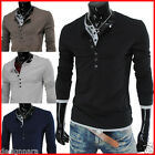 (VT09) THELEES Mens Casual Long Sleeve Layered Style Button Tshirts 4 COLOR