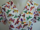 XS S M L XL 2XL BUTTERFLY ORANGE YELLOW PINK NAVY ROYAL BLUE RED GREEN SCRUB TOP