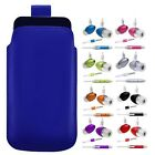 M- BLUE PULL TAB POUCH CASE COVER + HANDS FREE fOr SAMSUNG CHAT S335 S3350