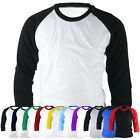 ililily New Mens Raglan Baseball Unisex T-shirts Casual Tee Crew-Neck Jersey 008