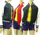 Women's&Ladies Faux Leather Baseball Jacket Letterman Plain Casual Jacket
