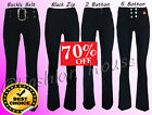 Ladies Girls Black Stretch Hipsters Trousers Miss Sexies/Reverse Sizes 4-16