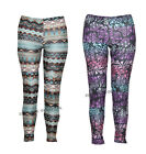 Z97 NEW WOMENS LADIES MULTI COLOUR AZTEC PRINT FULL LENGTH LEGGINGS IN 08-14.