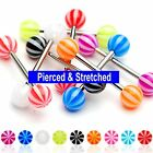 Surgical Steel Tongue Bars with 6mm Beach Balls available in 1.6mm x 16mm Length
