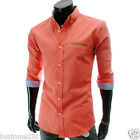 (HA100) Mens Casual Slim fit 70% Sleeve Chest Leather Patch Shirts M,L,XL,2XL