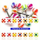 FREEPOST Surgical Steel Tongue Bars Square Cross Balls in 1.6mm x 16mm Barbells
