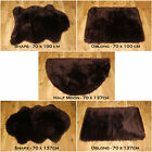 NEW SOFT FLUFFY  PLAIN WASHABLE CHOC BROWN COLOUR FAKE FAUX FUR SHEEP SKIN RUG