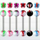 FREEPOST Surgical Steel Tongue Bars UV Butterfly Balls in 1.6mm x 16mm Barbells