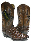 Men's Brown Alligator Crocodile Back Cut Cowboy Boots Western Rodeo