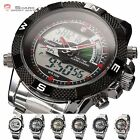 SHARK Dual Time LCD Date Day Alarm Chronograph Stopwatch Mens Sport Wrist Watch