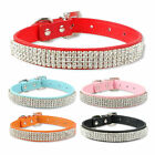 (5 Colors) Full Bling Diamante Rhinestone Leather Dog Puppy Collars XS S M L