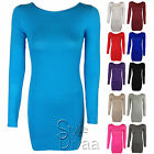 LADIES PLAIN BODYCON MINI DRESS TOP WOMENS LONG SLEEVE PLAIN TOPS SIZE 8-14