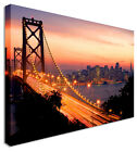 Large Manhattan Bridge NY Sunset - Canvas Wall Art Pictures For Home Interiors
