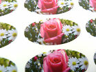 Pink Rose Flower Oval Seal Labels for Gift Wrap, Bags, Envelopes, Cards Stickers