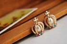 Korea Stylish Gold Plated King Crown colorfull crystal Pearl earrings