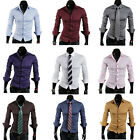 Men's Woven Shirts Spread Collar Solid Color Casual Shirt Long Sleeve Top MCL004