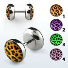 Leopard Skin Earring Fake Flesh Plug Animal Print Ring Stud Ear Stretcher Tunnel