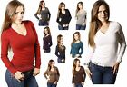 Womens/Girls V NECK Stretch Long Sleeve Solid Pullover Ribbed Sweater Knit Top