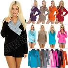 NEW Ladies Womens Knitwear 5 Button V Neck Jumper Knitted Dress size S M L XL
