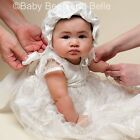 "Baby Beau & Belle ""Amelia"" Girls White Silk Christening, Baptism Heirloom Gown"