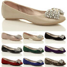 WOMENS LADIES FLAT JEWEL DIAMANTE BOW SLIPPERS LOAFERS SLIP ON PUMPS SHOES SIZE