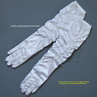 Elegant Shinny Stretch Satin Gloves with Shimmering Rose Accents-Gathered Sytle