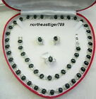 Black Agate Beads 18KWGP Crystal Necklace Bracelet Earrings Ring Set