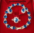 Blue Cubic Zirconia Sapphire 18KGP Crystal Bracelet Earrings Ring