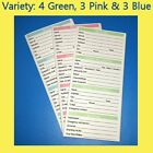 10 to 140 Pack Canine / Puppy / Dog Vaccine Health Records GREEN-PINK-BLUE