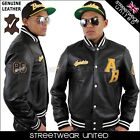 Aviatrix College Baseball Genuine Leather Varsity Celtic Jacket Hip Hop Black