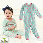 "[Made in KOREA] Baby Toddler Kids Girl Sleepwear Pajama Top Bottom ""Mint Flower"""