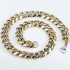 """10/15mm MENS Chain Silver Gold  Curb Cuban 316L Stainless Steel Necklace 18""""-36"""""""