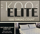 Koo 1200TC 100% Cotton Plain Dyed Sateen Sheet Set Queen & King Bed Multi Colors
