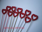 10 X 10MM RED PEARL OPEN HEART WIRE SPRAY STEMS ON GOLD OR SILVER WIRE