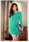 709B Women Ladies Green Long Sleeve Tunic One Piece Dress Black Metallic Belt