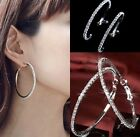 1 Pair Big Clear Crystal Rhinestone Circle Round Hoop Charm Earrings