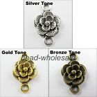 30Pcs Tibetan Retro Silver/Golen/Bronze Floral Charm Connector For Jewelry DIY