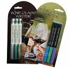 3 WINE GLASS WRITER ERASABLE MARKER PENS: BLUE PURPLE GREEN or SILVER GREEN GOLD