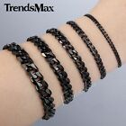 """3/5/7mm Curb Link Mens Boys Chain Black Tone Stainless Steel Bracelet 7""""-11 inch"""