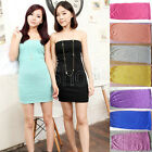 Hot Sale Sexy Seamless Stretchable Casual Tunic Tube Tank Top Mini Dress 8 Color