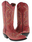 Women's cowboy boots ladies dance leather studded western riding biker rodeo new