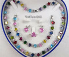 Multicolor Red Green Pink Cubic Zirconia 18KWGP Necklace Bracelet Ring Earrings