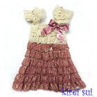 Dusty Pink Cream Ivory Cap Sleeves Lace Ruffles Pettidress Party Dress 6Mos-5Y