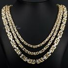 5/6/8mm Gold Silver Tone Byzantine Box Link Stainless Steel MENS Chain Necklace