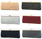 NAVY BLACK SILVER GOLD GREY Pleated Satin Crystal Clasp Clutch Evening Bag #111