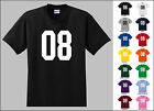 Number 08 Zero Eight Sports Number Youth Jersey T-shirt Front Print