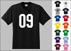 Number 09 Zero Nine Sports Number Youth Jersey T-shirt Front Print