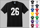 Number 26 Twenty Six Sports Number Youth Jersey T-shirt Front Print